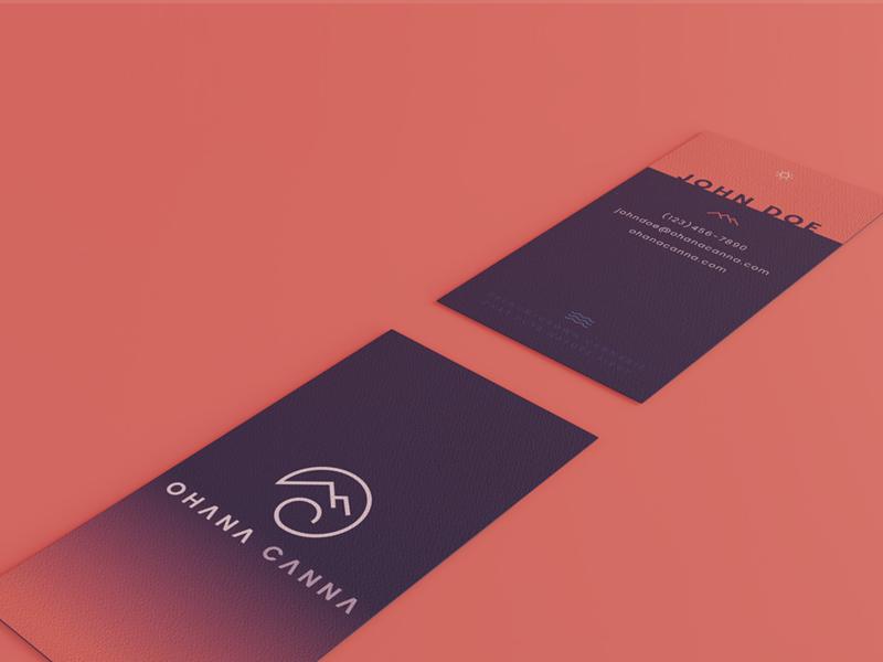 Ohana Canna Business Cards 3d render 3d minimal gradient custom marketing materials case study brand assets oregon marijuana cannabis sunset seamless business cards design business cards