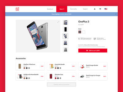 OnePlus 3 Product page concept web study startup responsive redesign product phone optimization one-plus e-commerce concept case-study
