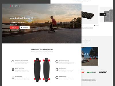 Inboard - Landing Page Concept display startup web design product page landing electric skateboard