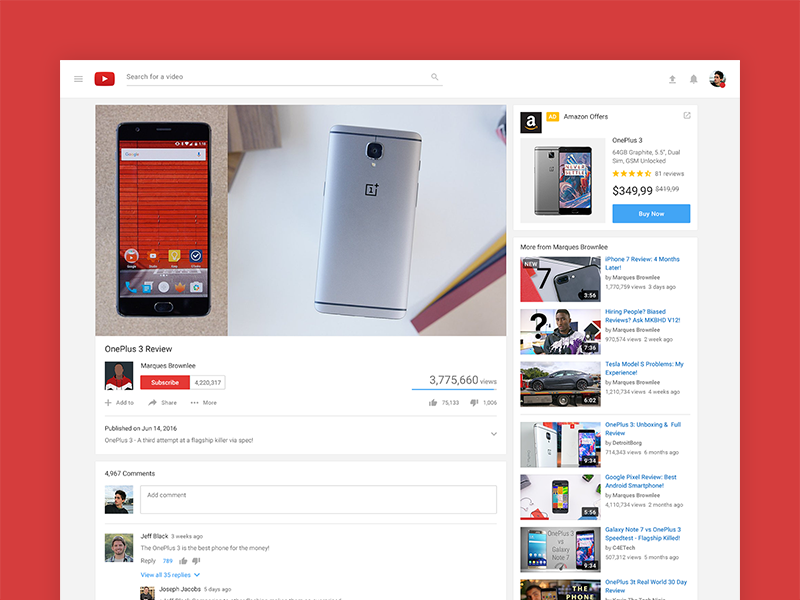Youtube Material Redesign - Video page (E-commerce ad) by