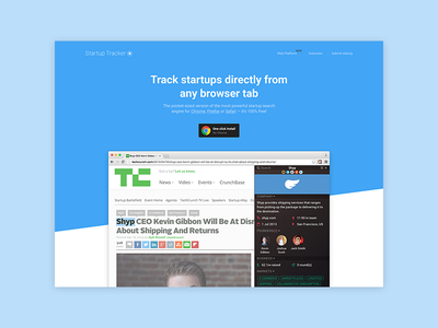 Startup Tracker - Final Header ux ui study process optimization page landing iterations header conversion