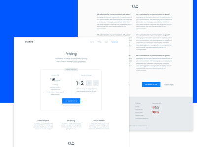 Pricing Page - Smartbnb Website redesign pricing plans pricing page landing page pricing clean blue redesign process features landing web ux