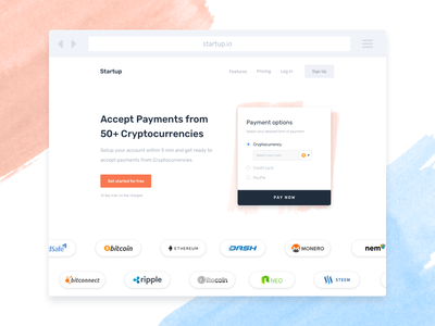Cryptocurrency Payment Landing Page - Header landing blue orange clean ux website bitcoin cryptocurriency web landing page header