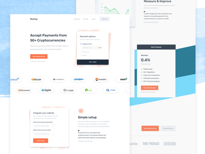Cryptocurrency Payment Landing Page payments landing blue orange clean ux website bitcoin cryptocurriency web landing page header
