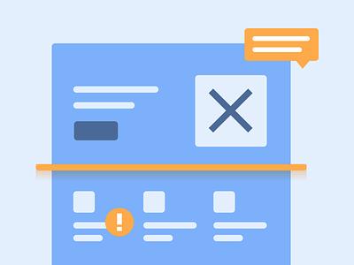 Identifying problems (Illustration) - Personal Website landing page saas orange blue scanner problems conversion web illustration personal website