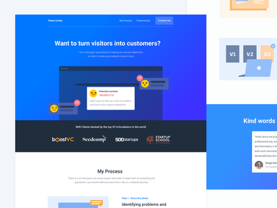 Full page - Personal Website project personal website illustration web conversion problems scanner blue orange saas landing page