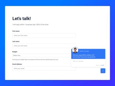 Let's talk! - Personal Website contact form