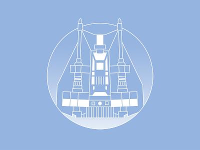 Snowspeeder ship vector art geometric pin iconography badge icon line art illustration illustrator design star wars hoth snowspeeder
