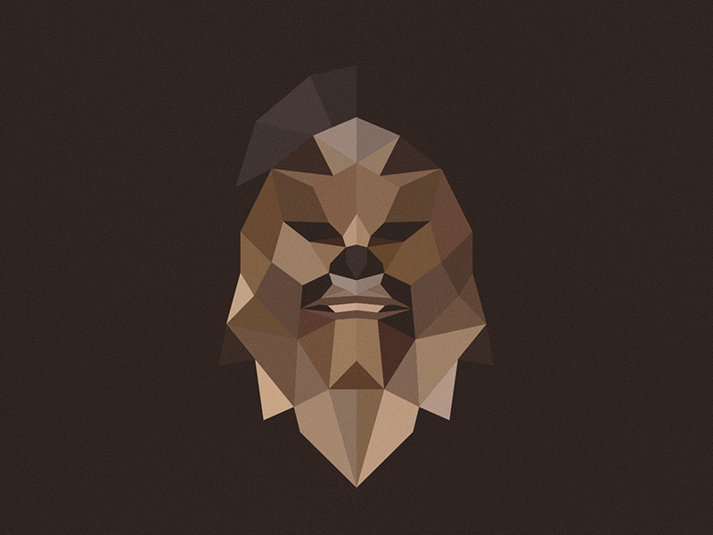 Wookiee star wars low poly flat design vector wookiee illustrator illustration geometric