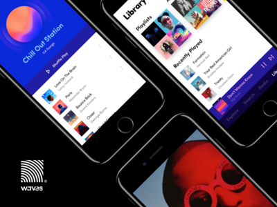 Waves - Music App song albums player color explore list content radio minimal clean waves music