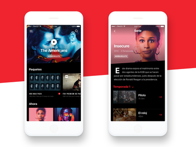 TV Content show dark clean simple black red list series movies digital content tv