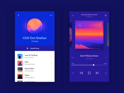 Waves - Music App iphone ios color clean dark black blue interface app ux ui design