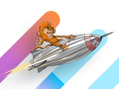 Monkop Illustration clean blue orange website web graphic concept brand app monkey design illustration