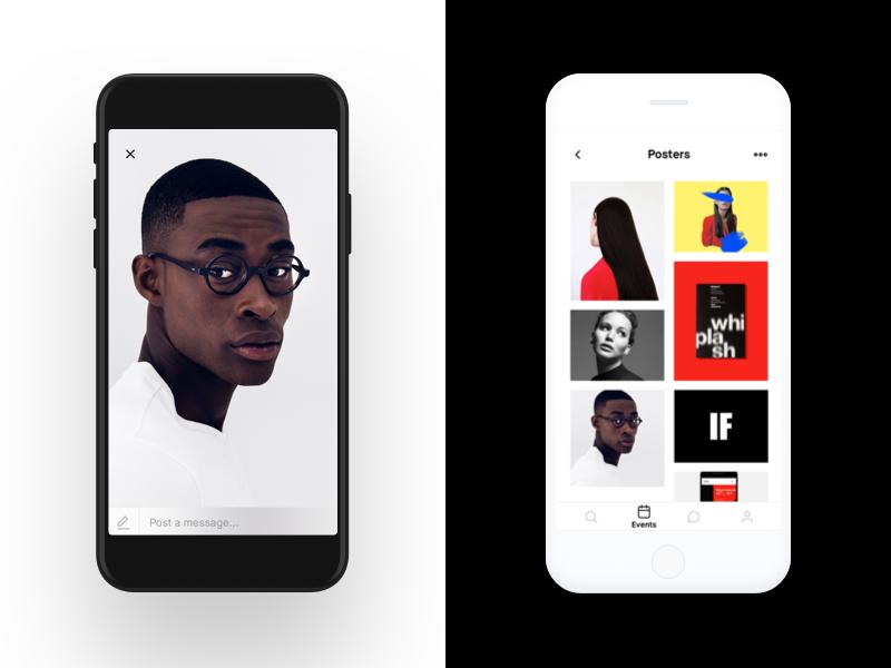 Grids design ui ux app interface clean minimal ios flat simple red type