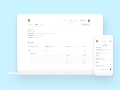 Monkop Billing web list monkop design app billing white clean interface ui ux