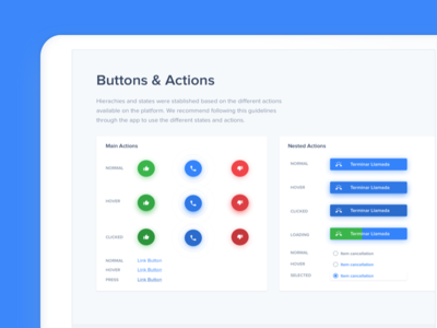 Styleguide - Buttons & Actions design ui ux app interface clean minimal web simple guidelines blue