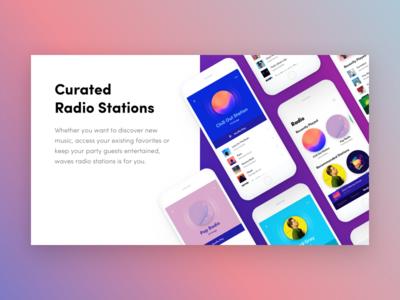 Waves - Music App Deck gradient blue simple ios music clean interface app ux ui design