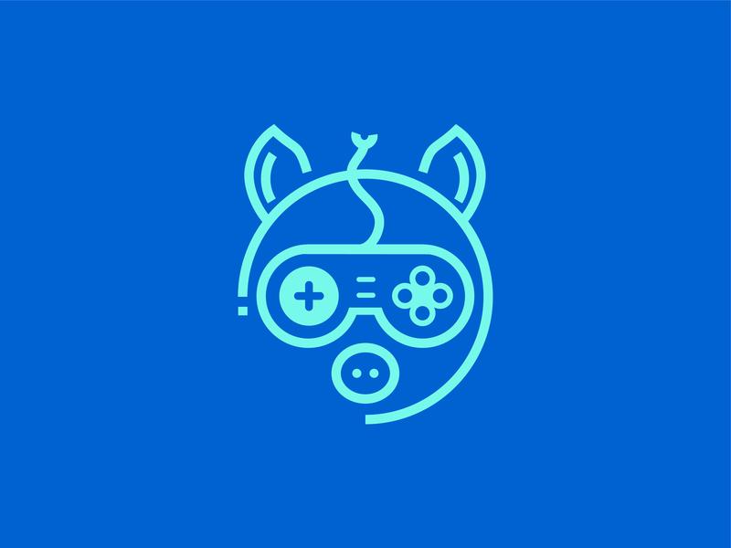 Gamin' Ham gaming mascot logo line work line weight nintendo gaming logo logo energy controller lines gamer gaming ham