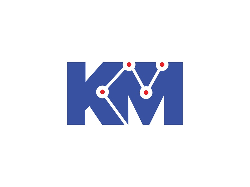 KM blue logo seo analytic lines marketing
