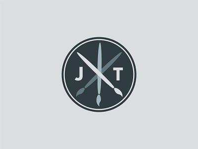 JT logo circle symbol paint brush jt
