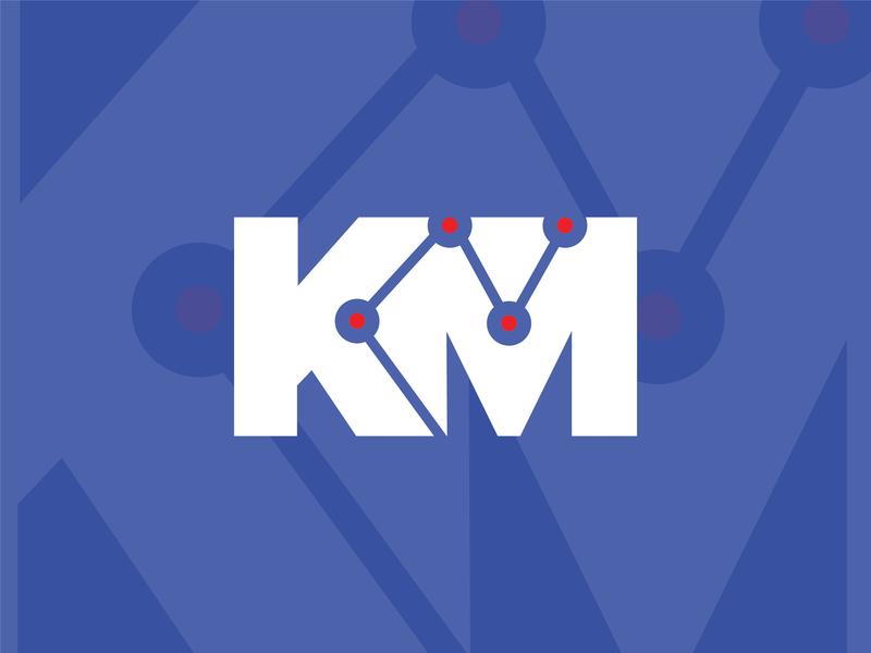 KM inverted california marketing design symbol logo mark analitycs km