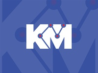 KM inverted california marketing design symbol logo mark analitycs km