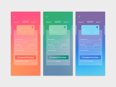 Daily UI ios cards checkout colorful gradient color gradients credit card form credit card credit card checkout uidesigns uidaily uidesign dailyuichallenge dailyui 002 dailyui