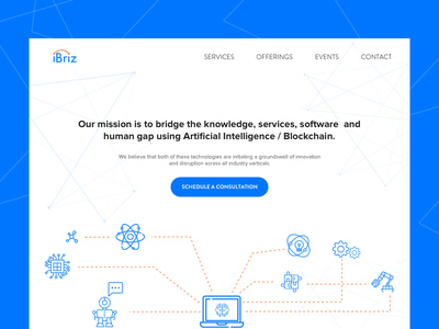 Landing page design for iBriz blockchain consult sketch webpage website landing