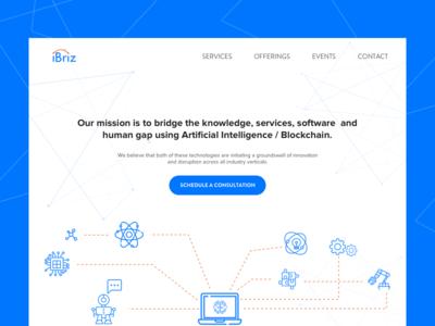 Landing page design for iBriz blockchain consult sketch webpage website landing