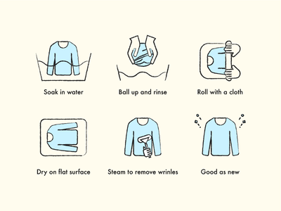 Fabric Care Icons wool handdrawn steps sweater icon fabric vector illustration