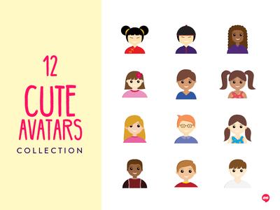 12 Cute Avatars vector icon illustration avatar purchase sale collection