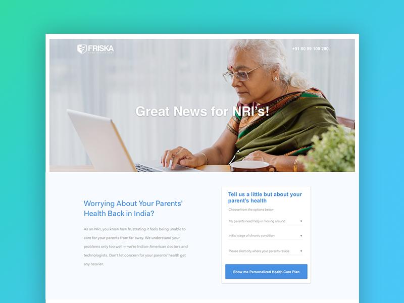 Concept - Friska Landing Page ux ui india blue healthy care health idea page landing interface