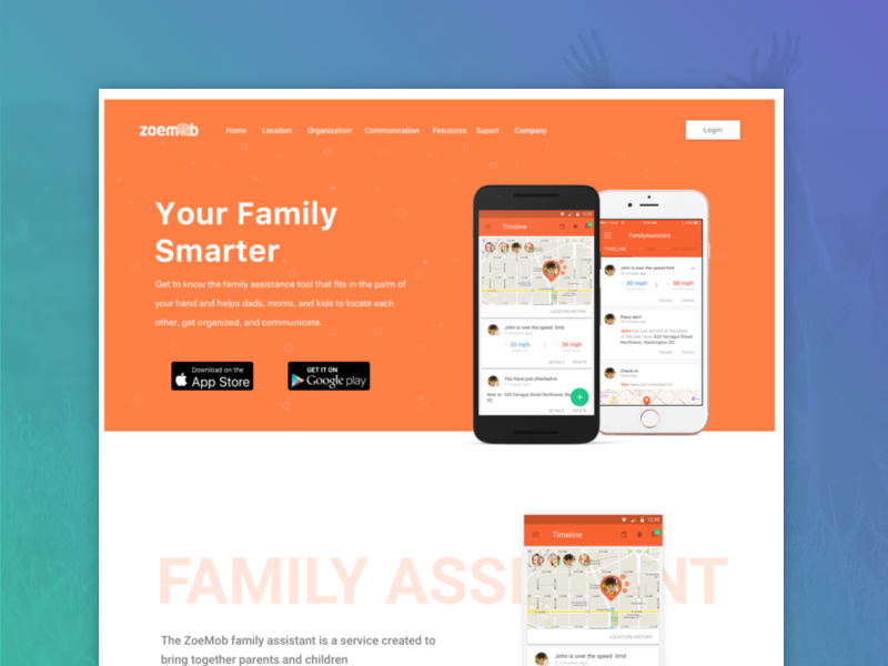 Family Locator Page website android ios app locator family responsive design interface web ux ui