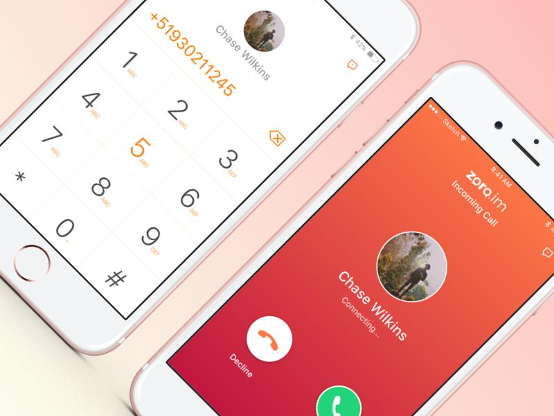 Incoming Call  mobile phone dialler user interface ux ui app ios calling call