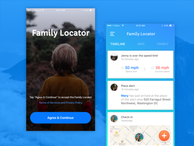Family Locator Concept ios app experience interface kids father concept cards family user ux ui