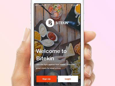 Login Screen - Bitekin designer user buy login interface ux ui design startup food