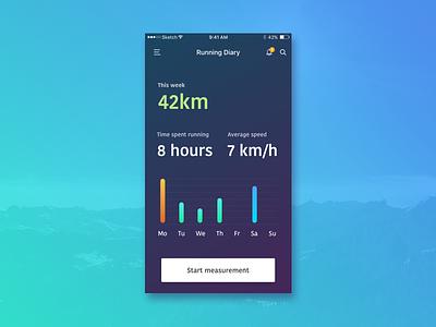 Running app - Concept adidas nike peace runner colors interface ux ui design app running run