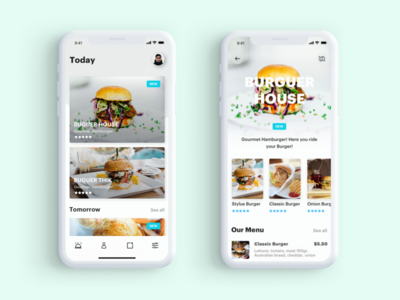 Foody concept minimalist clean delivery photo iphone design concept food hamburger interface ux ui