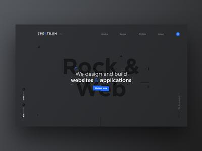 Spektrum media blue dark black portfolio website webdesign web ui minimal