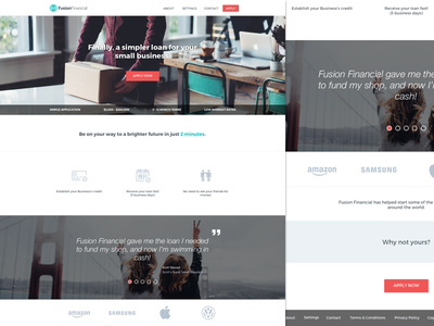 Marketing page sup hi financial loan web app app design web design marketing