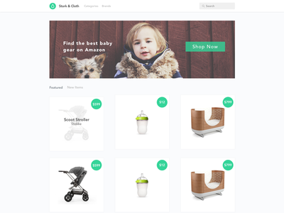 A Curated Amazon Baby Store Concept web design design baby curated amazon
