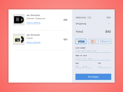 Day 2: Credit Card Checkout ui dailyui checkout credit card