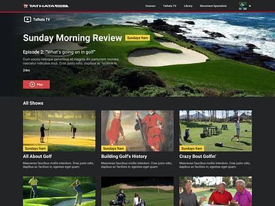 Golf TV! web app app ux ui crazy bout golfin golfing television tv golf