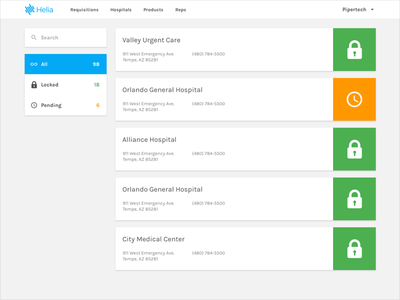 Helia Manufacturer View invoice invoicing web app app ux ui medical hospital
