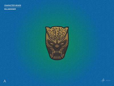 #2.2 Character Heads | Marvel: Killmonger hulk captainamerica thor iron man avenger marvelcomics blacklivesmatter wakanda africa chadwick boseman killmonger marvel black panther vector illustration sketch clean design minimal