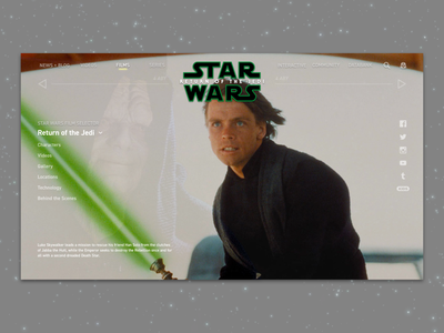 #1.6 Shots for Practice |  Star Wars: Return Of The Jedi logo design typography website web ux ui return of the jedi star wars sketch responsive redesign movie minimal landing page landing disney illustration design clean branding