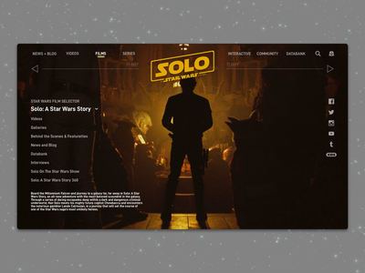 #1.11 Shots for Practice |  Solo: A Star Wars Story movie landing solo star wars web website sketch responsive branding landing page design ui clean ux minimal