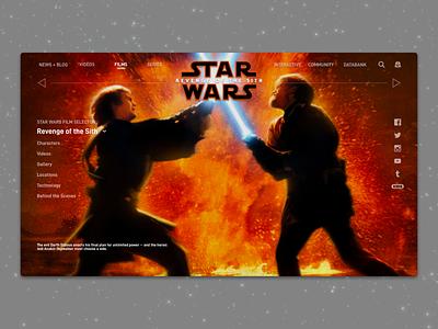 #1.12 Shots for Practice | Star Wars: Revenge of the Sith website web revenge of the sith star wars landing logodesign logo illustration branding redesign landing page sketch responsive design clean ux ui minimal