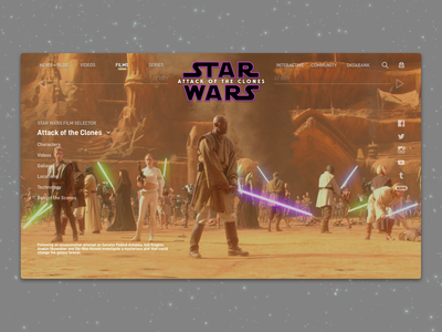 #1.14 Shots for Practice | Star Wars: Attack of the Clones movie disney website web attack of the clones star wars typography sketch redesign landing page branding responsive design clean ux ui minimal