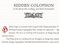 Hidden Logic: About / Colophon